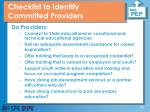 checklist to identify committed providers