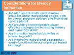 considerations for literacy instruction