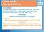 older youth credential rate