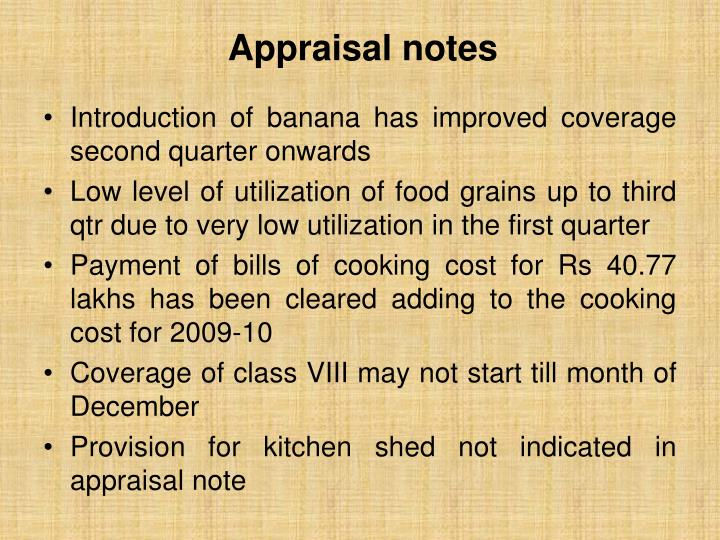 Appraisal notes