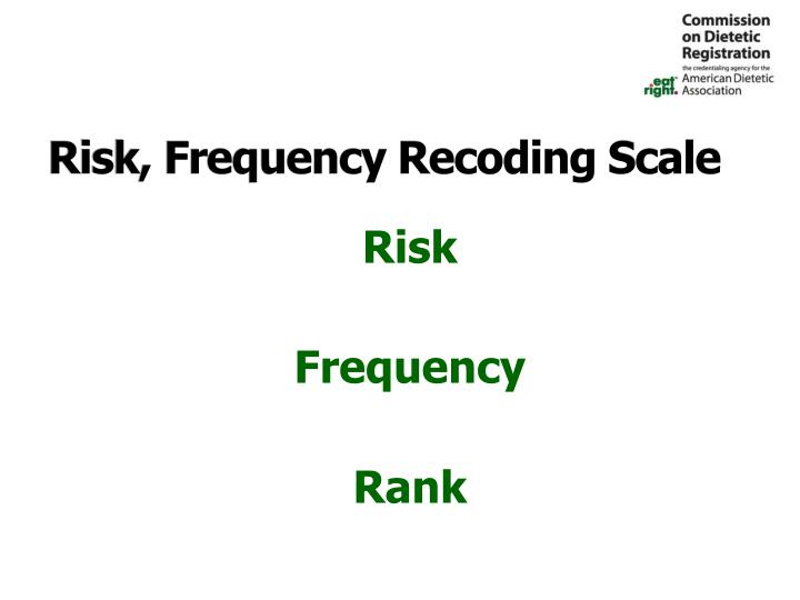 Risk, Frequency Recoding Scale