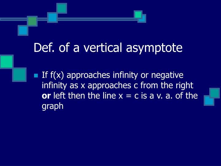 Def. of a vertical asymptote