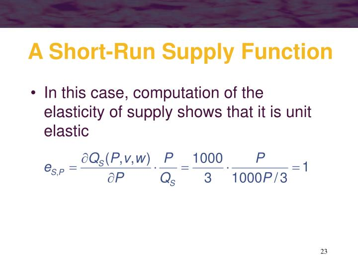 A Short-Run Supply Function