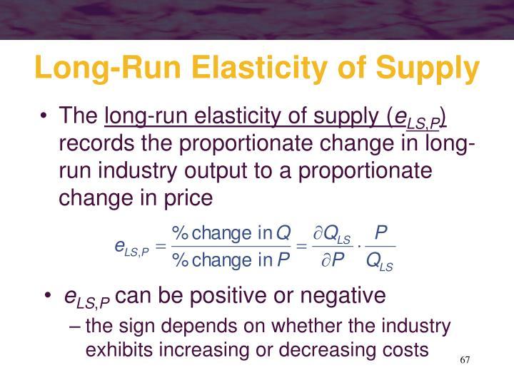 Long-Run Elasticity of Supply