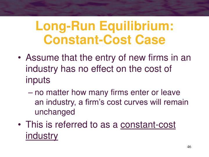 Long-Run Equilibrium: Constant-Cost Case