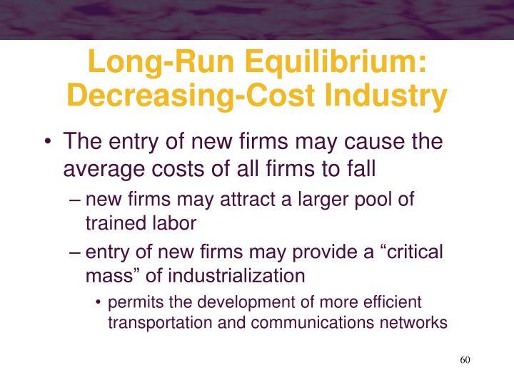 Long-Run Equilibrium: Decreasing-Cost Industry