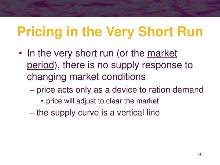 Pricing in the Very Short Run