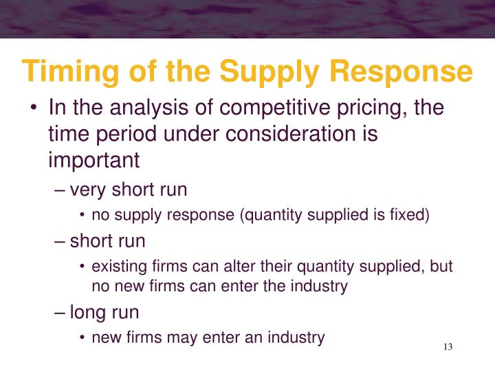 Timing of the Supply Response
