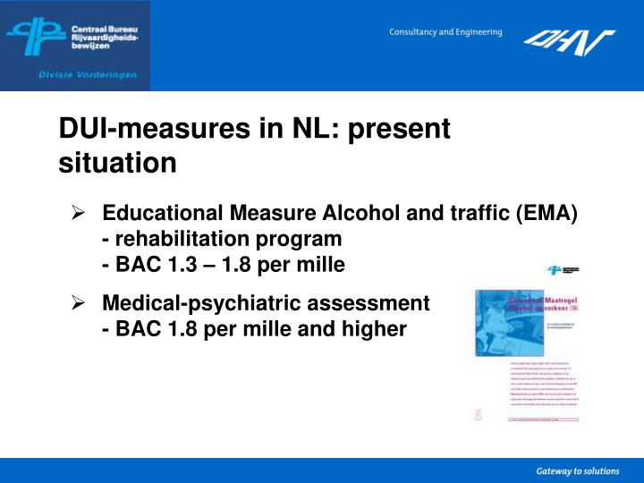 Dui measures in nl present situation