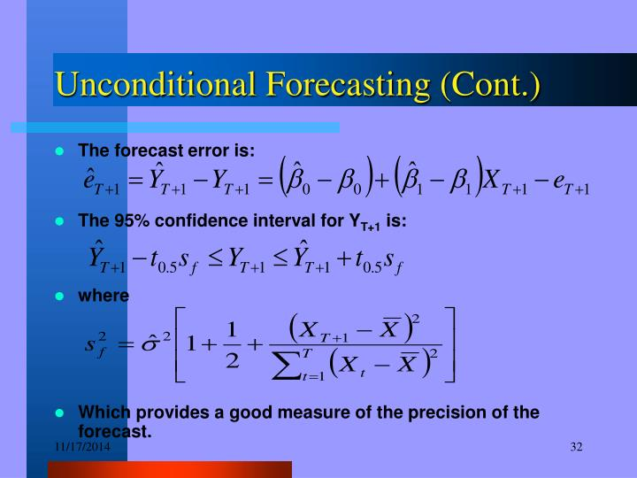 Unconditional Forecasting (Cont.)
