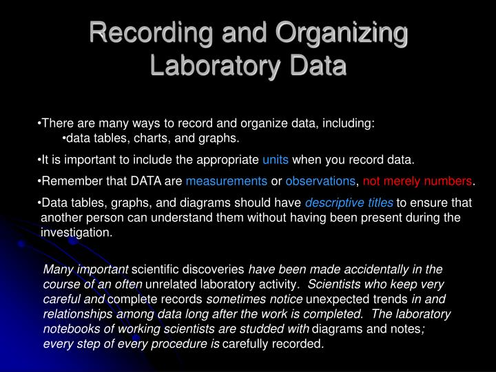Recording and Organizing Laboratory Data