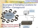 examples of sampling locations for ncwss campground