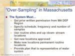 over sampling in massachusetts