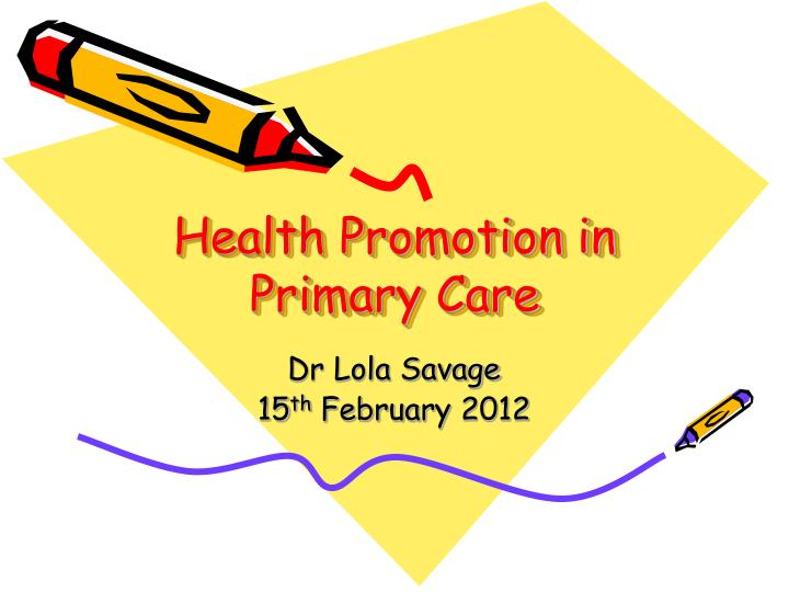 health promotion in primary care n.