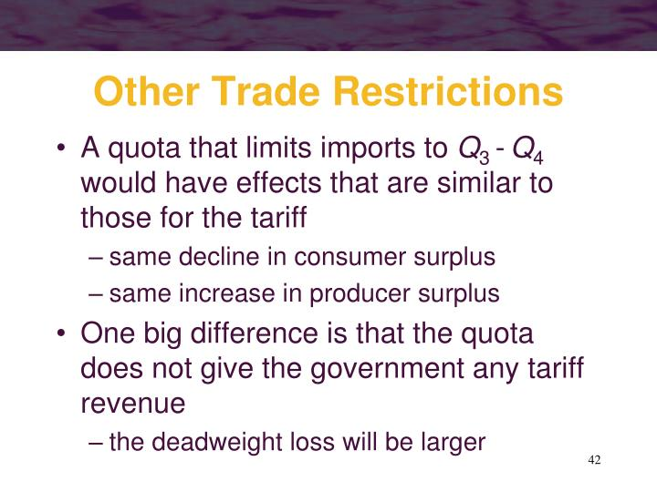 Other Trade Restrictions