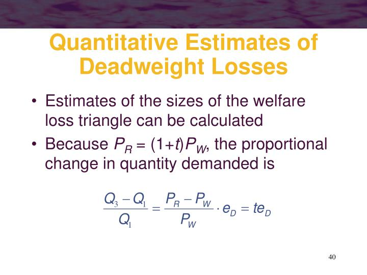 Quantitative Estimates of Deadweight Losses