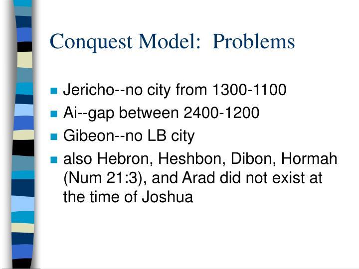 Conquest Model:  Problems