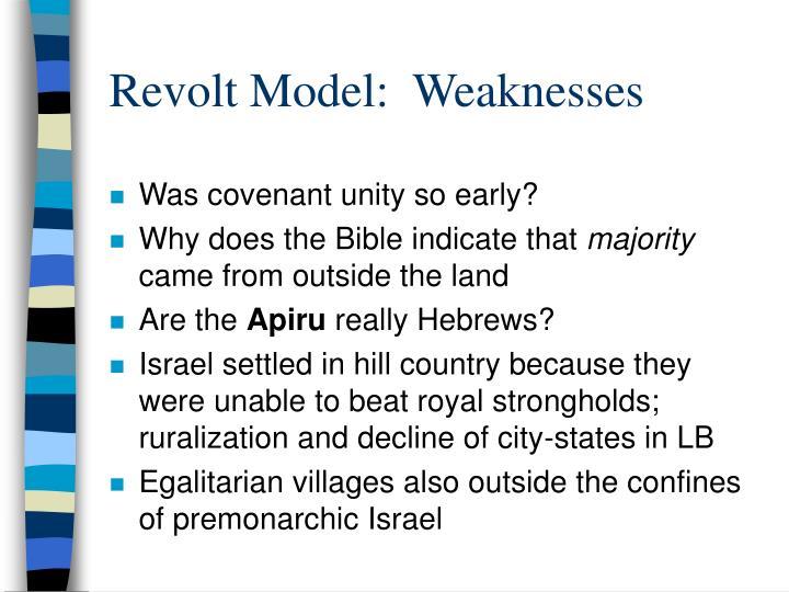 Revolt Model:  Weaknesses