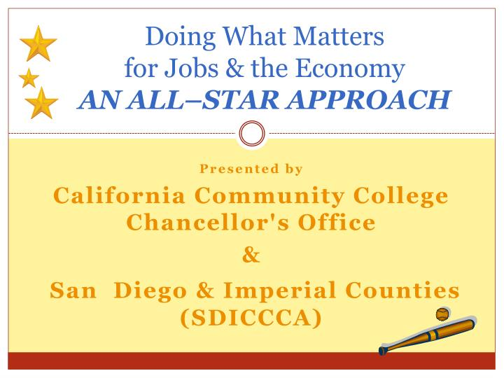 doing what matters for jobs the economy an all star approach n.