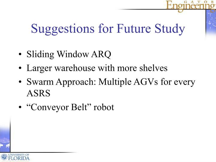 Suggestions for Future Study