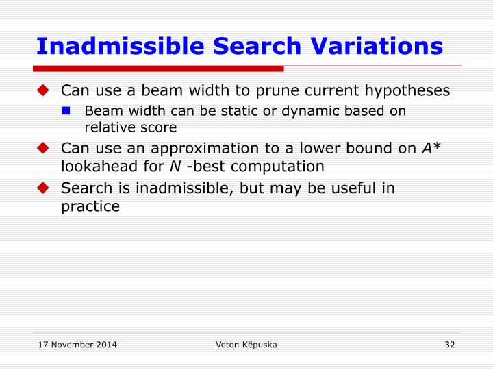 Inadmissible Search Variations