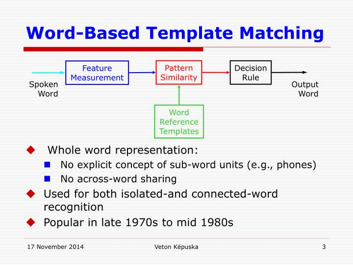 Word based template matching