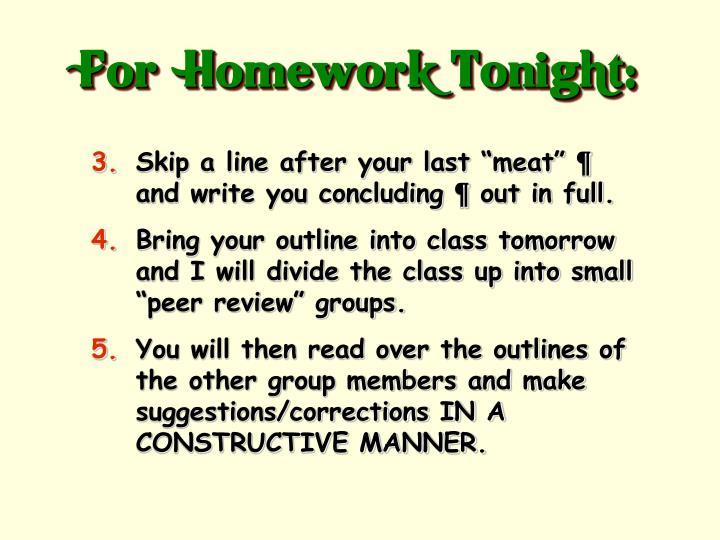 For  Homework Tonight: