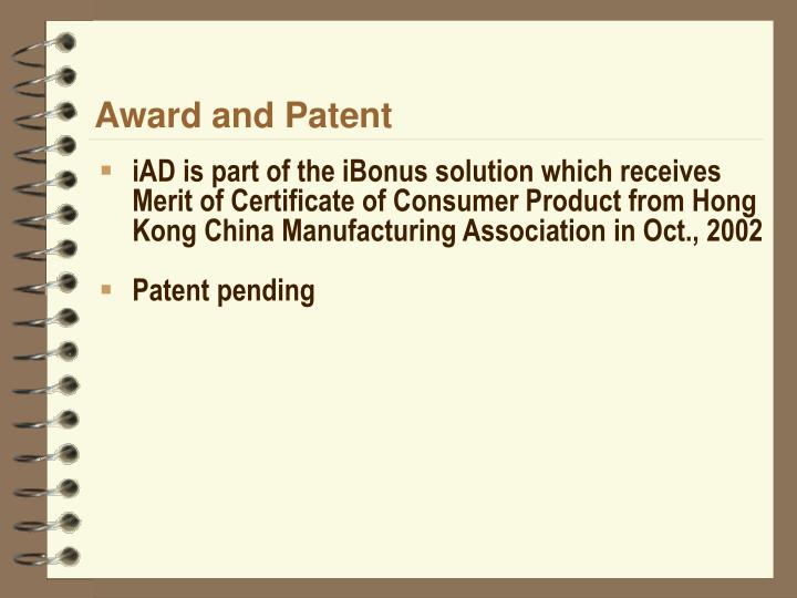 Award and Patent
