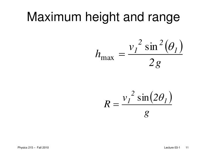Maximum height and range