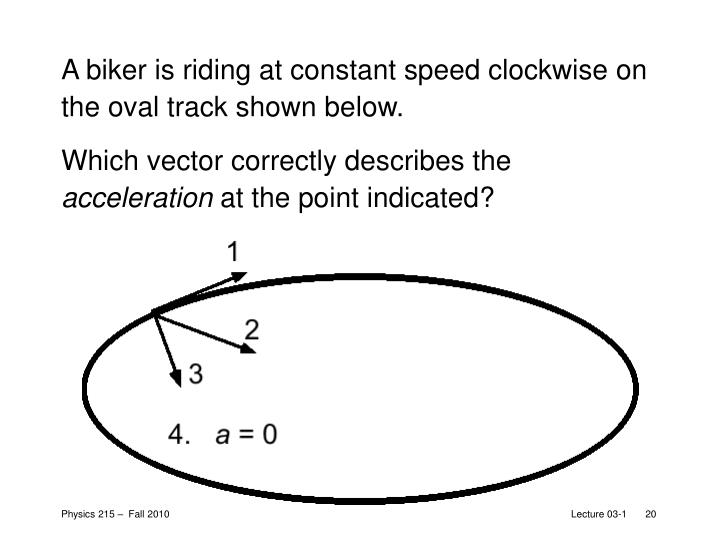 A biker is riding at constant speed clockwise on the oval track shown below.