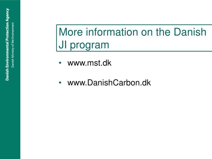 More information on the Danish JI program