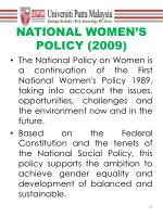 national women s policy 2009