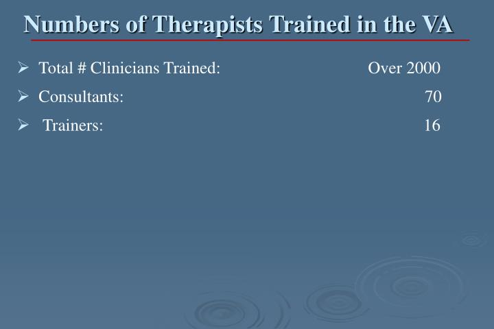 Numbers of Therapists Trained in the VA