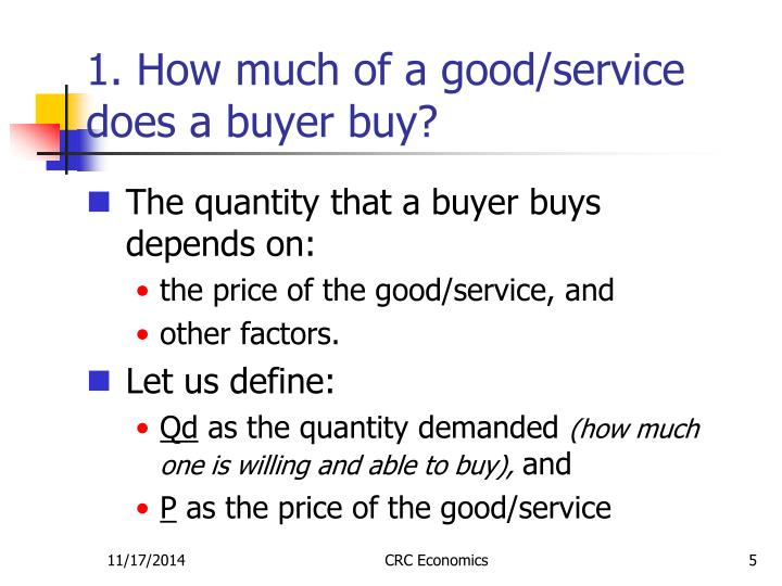 1. How much of a good/service does a buyer buy?