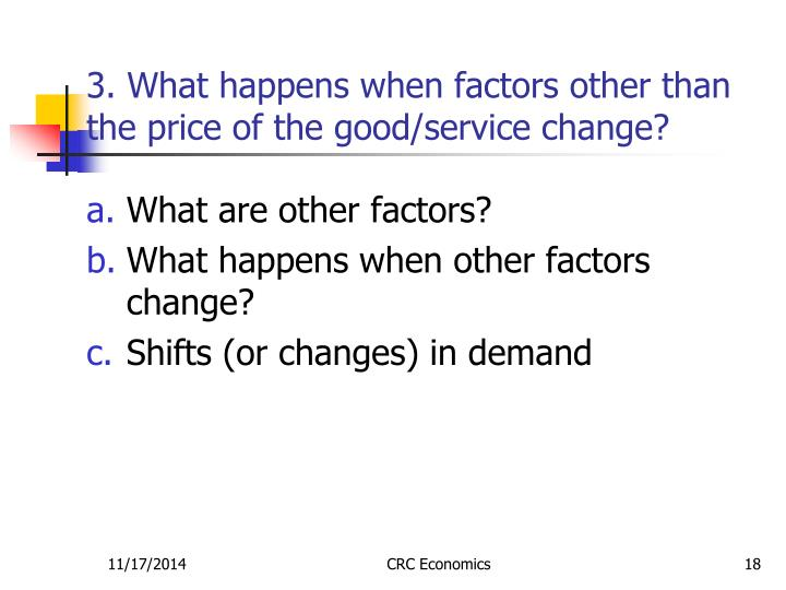3. What happens when factors other than the price of the good/service change?