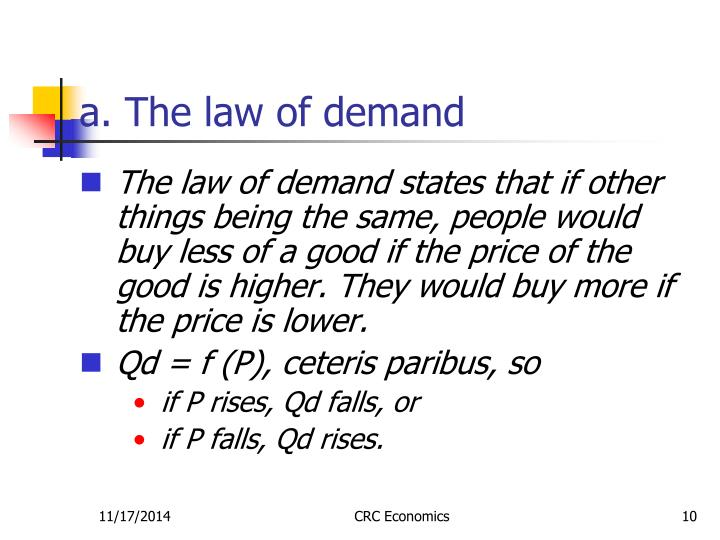 a. The law of demand