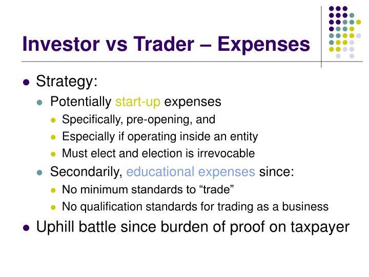 Investor vs Trader – Expenses