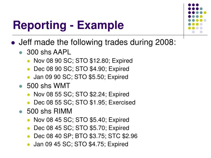 Reporting - Example