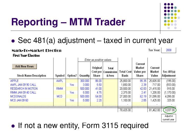 Reporting – MTM Trader