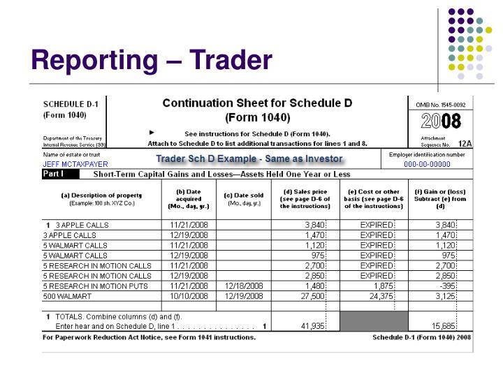Reporting – Trader
