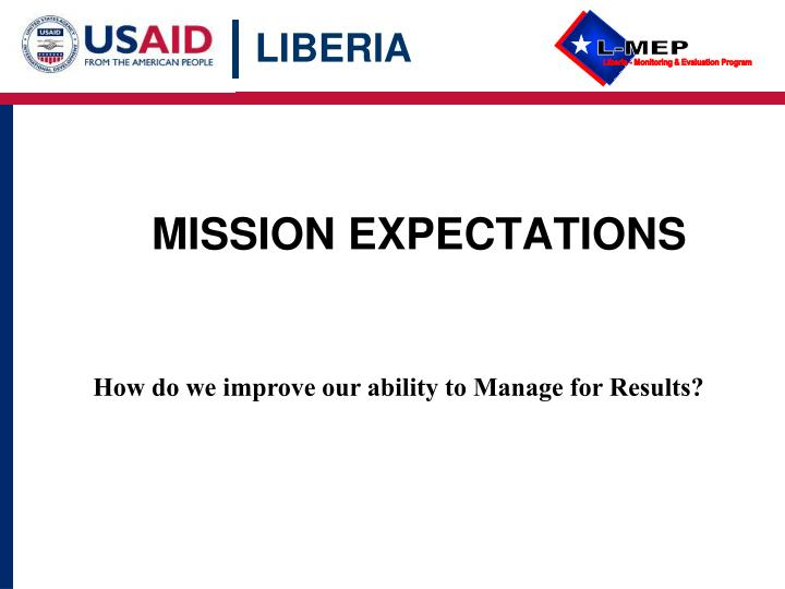 mission expectations n.