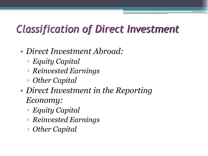 Classification of Direct Investment