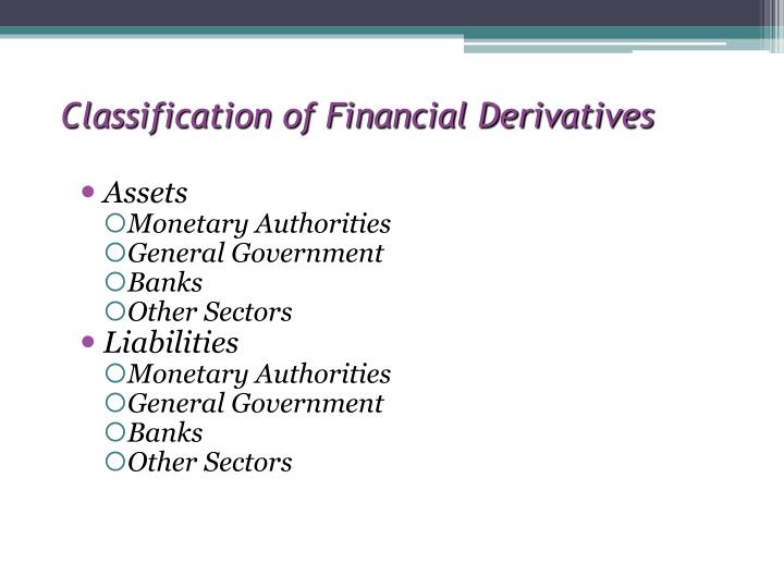 Classification of Financial Derivatives