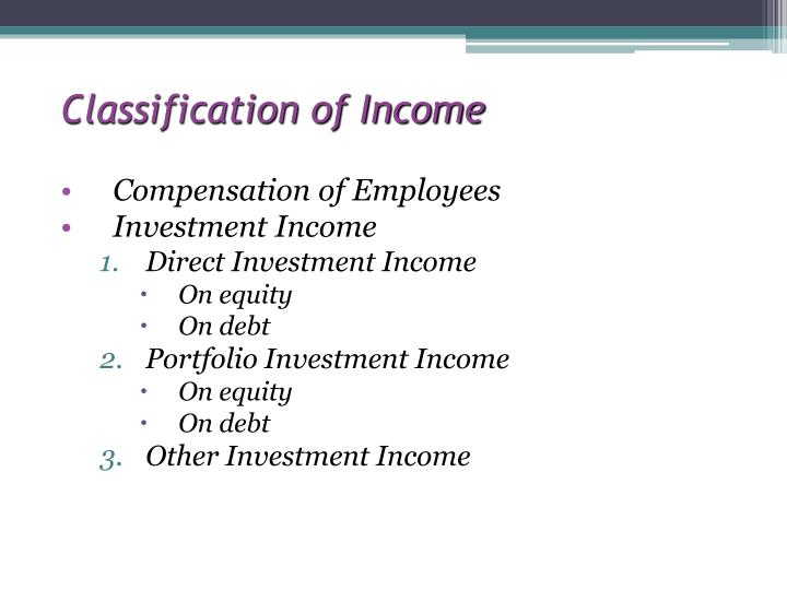 Classification of Income