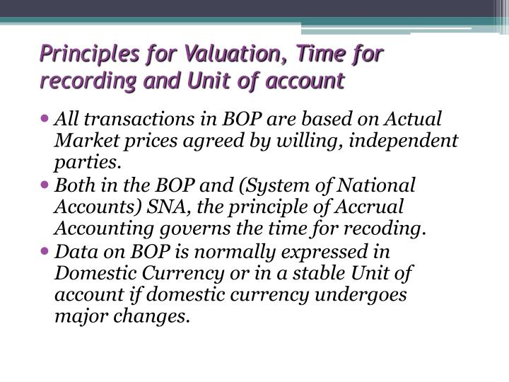 Principles for Valuation, Time for recording and Unit of account