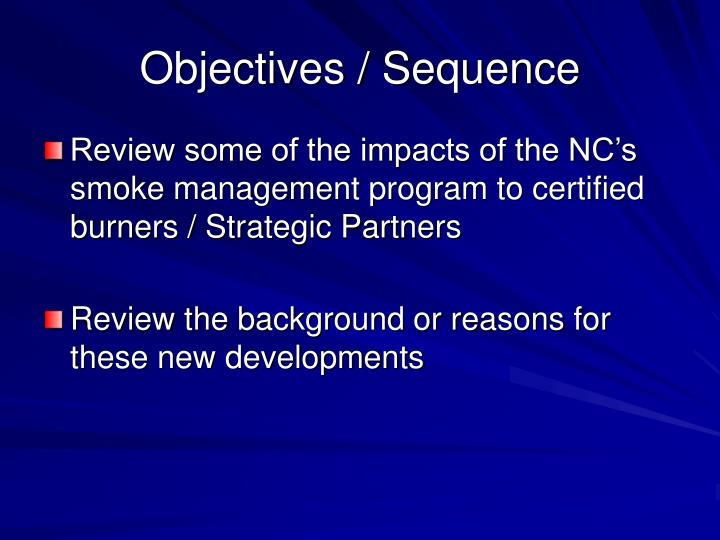 Objectives / Sequence