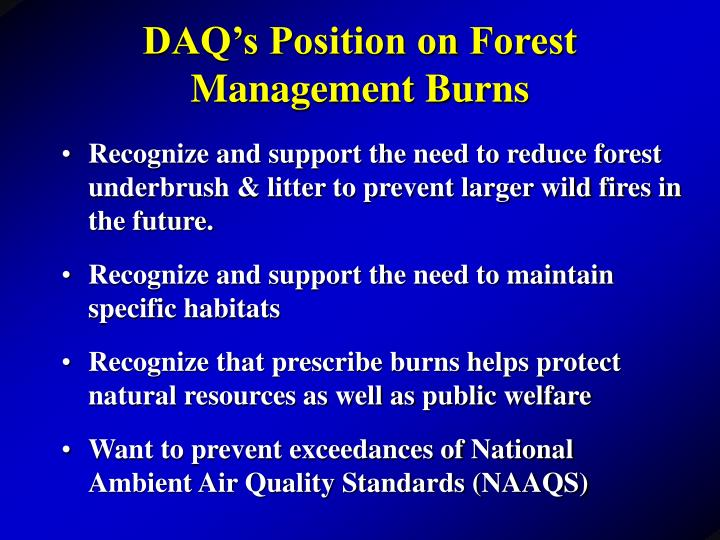 DAQ's Position on Forest Management Burns