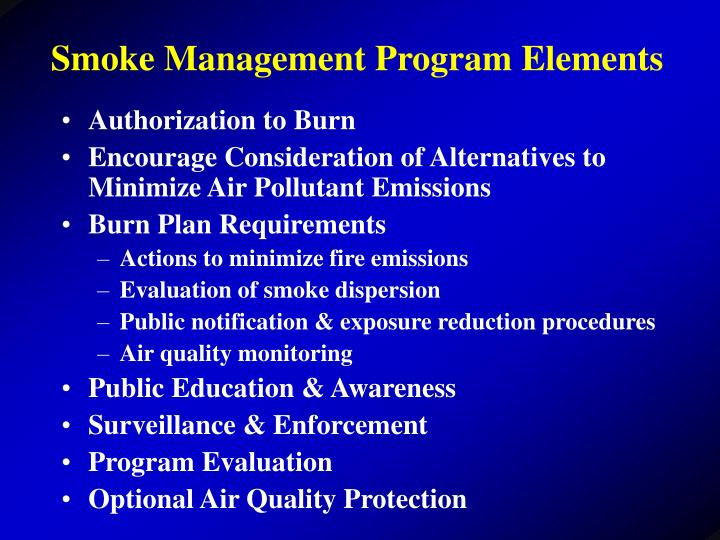 Smoke Management Program Elements