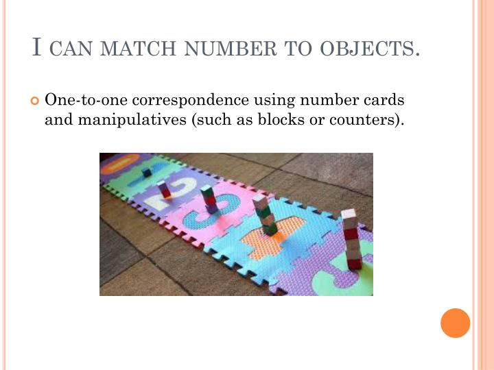 I can match number to objects.