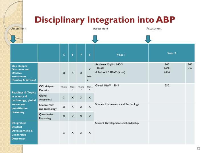 Disciplinary Integration into
